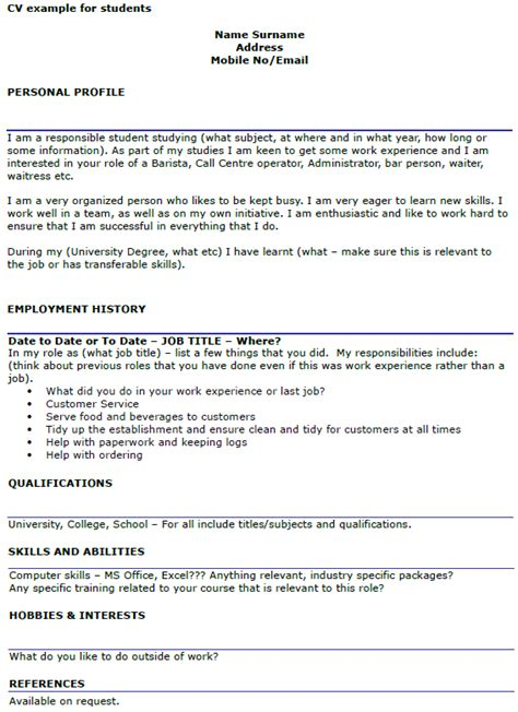 exle curriculum vitae for students student cv exle template icover org uk
