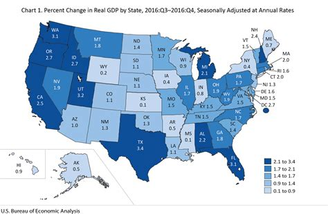 us states economy map bea news release gross domestic product by state fourth