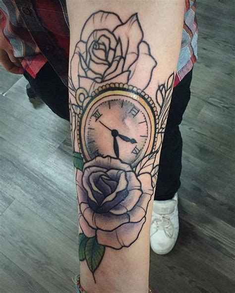 rose and watch tattoo chronic ink toronto neo traditional pocket