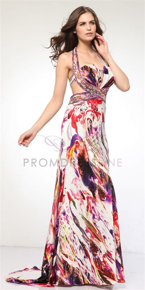 colorful prom dresses wide pleated bodice colorful print prom dress unique