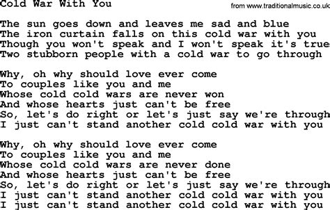 song ware willie nelson song cold war with you lyrics