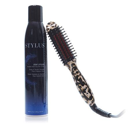 fhi stylus thermal styling brush or t3 styling brush fhi stylus mini leopard thermal styling brush with hair