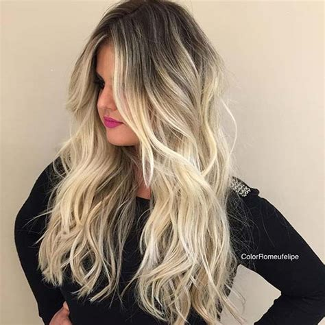 photos of blonde highlights with dark roots icy blonde balayage with dark roots