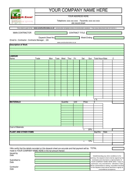 construction sign in sheet template daywork sheet