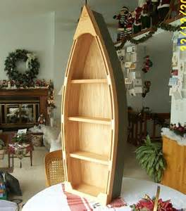 Canoe Bookshelves Handcrafted 4 Foot Wood Row Boat Bookcase Shelf Shelves