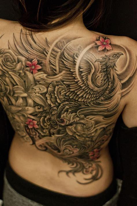 phoenix back tattoo back black and grey and flowers jpg
