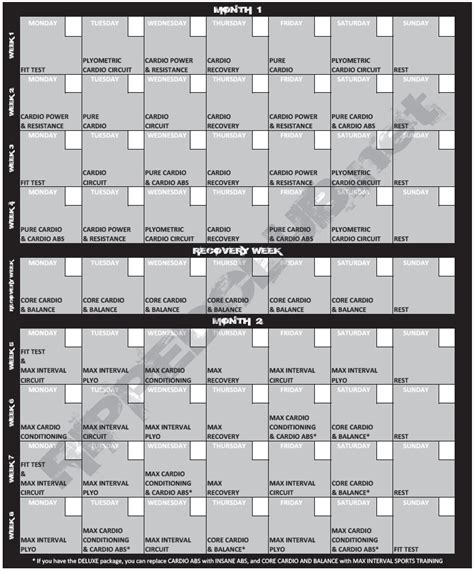 Insanity Calendar Printable Pdf Insanity Printable Calendar With Fit Test