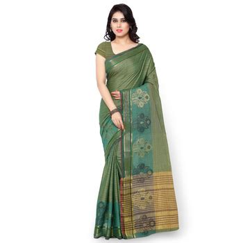 Rama Blouse by Buy Rama Green Woven Cotton Silk Saree With Blouse