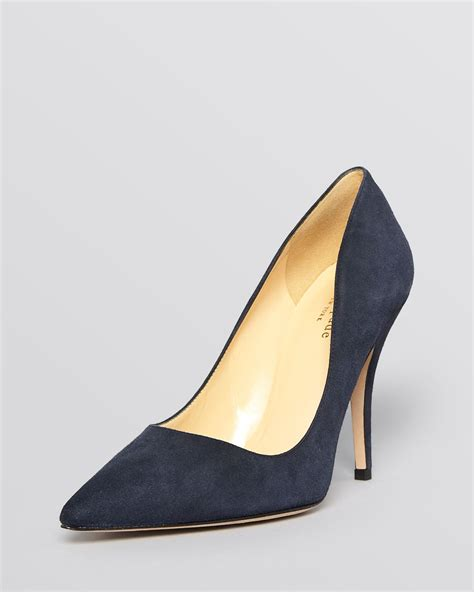 navy blue high heels pumps kate spade pointed toe pumps licorice high heel in blue