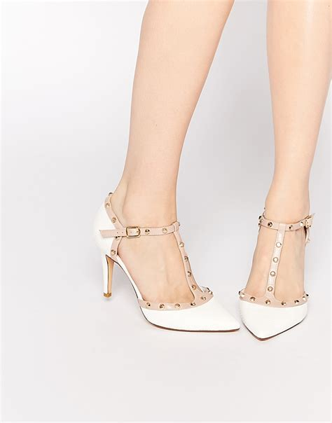 Cloi Shoes 0520 High Heels by Dune Cliopatra White Stud Heeled Shoes In White Lyst