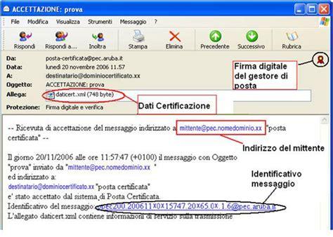 commercio firma digitale ricevuta di accettazione aruba pec it