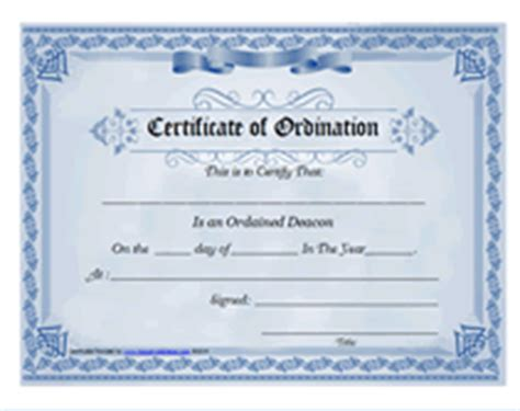 Template For Ordianation Wallet Cards by Free Printable Ordained Deacon Certificate Of Ordination