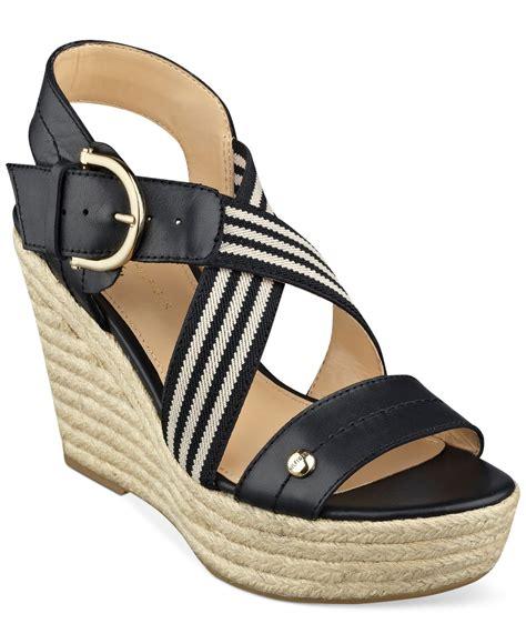 hilfiger wedge sandals lyst hilfiger s ignacia platform wedge
