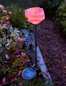 moonrays 91405 solar powered led flower stake light pink