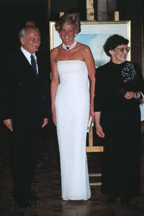 Diana White diana princess of wales catherine walker pearl encrusted