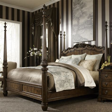 Four Poster King Bed by King Traditional Antique Style Four Poster Bed