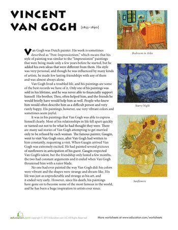 picasso biography for middle school van gogh van gogh worksheets and vans