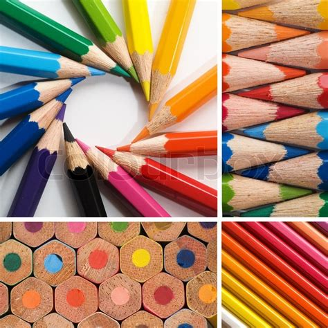 colorful pencils and office supplies collage stock photo color pencils collage stock photo colourbox