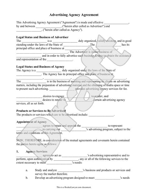 advertising contracts templates advertising agency agreement contract sle template