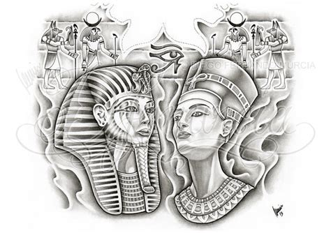 egyptian king and queen tattoo back by dfmurcia on deviantart