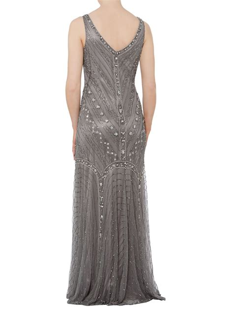 beaded fishtail dress shubette fishtail beaded dress in gray pewter lyst