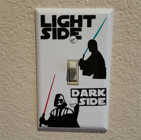 Car Themed Bedroom star wars light side dark side light switch cover