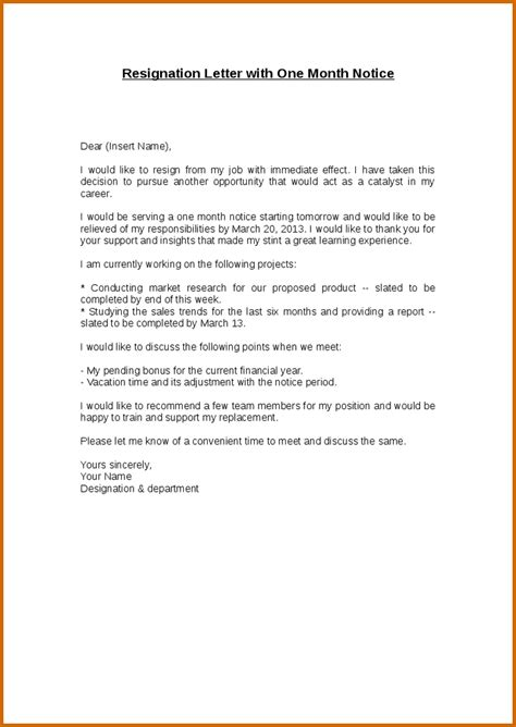 Lease Resignation Letter Format 13 Sle Resignation Letter 1 Month Notice Lease Template