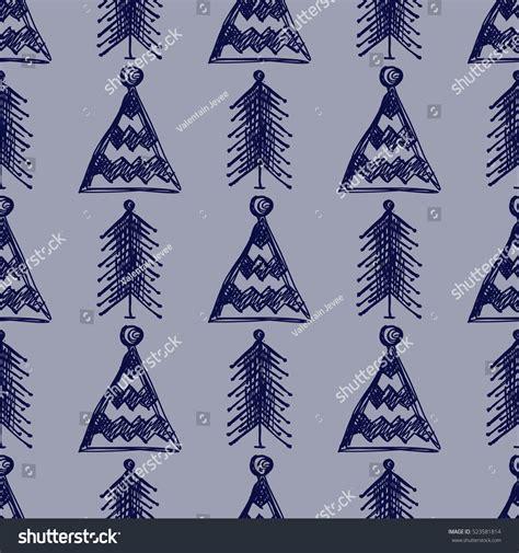 seasonal pattern en francais seamless vector pattern firtrees blue seasonal stock
