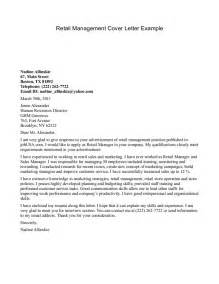 Retail Cover Letter by Cover Letter Exles Retail Management Cover Letter