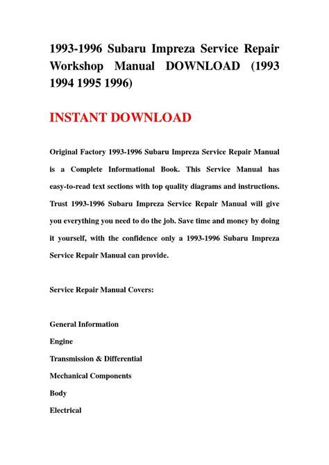 service repair manual free download 1996 subaru alcyone svx free book repair manuals 1993 1996 subaru impreza service repair workshop manual download 1993 1994 1995 1996 by
