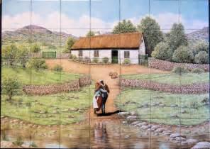 Kitchen Tile Backsplash Murals quot the white o morn cottage quot custom kitchen backsplash tile