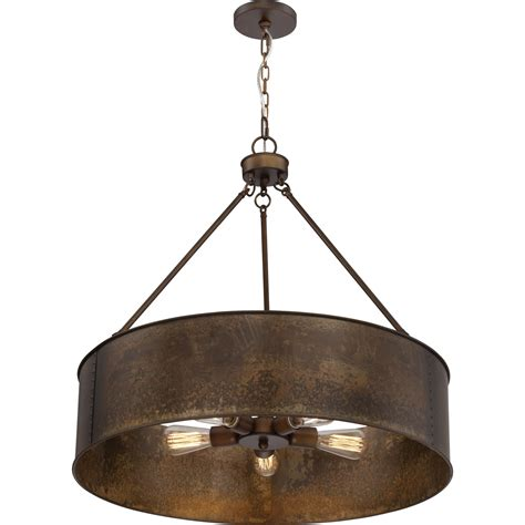 Drum Lighting Pendant 251 River Station Weathered Brass Five Light Industrial Drum Pendant On Sale