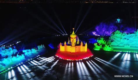 3d light show 3d snow light show held at sun island int l snow sculpture