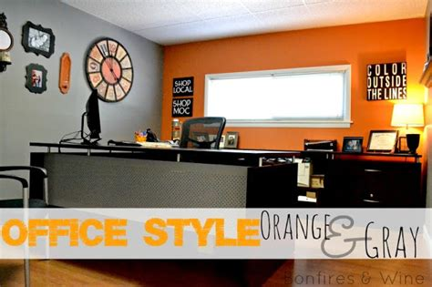 Orange Office by Bonfires And Wine Orange Gray Office Style