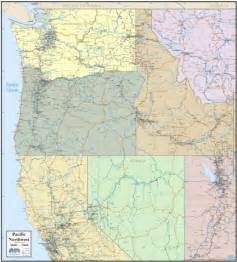 map of northwest cities wall map of pacific northwest