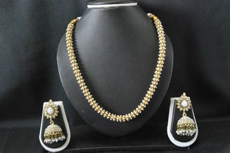 0219c6 Kalung Fashion Choker Key Pearl Pendant Decorated Layer 1 buy necklace set studded with small pearls dangling pearl jhumkas