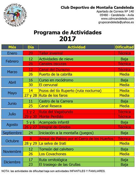 Calendario De Actividades Calendario De Actividades 2017