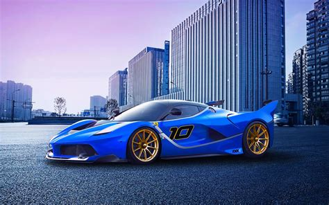 Ferrari FXX K race car, blue supercar Wallpaper