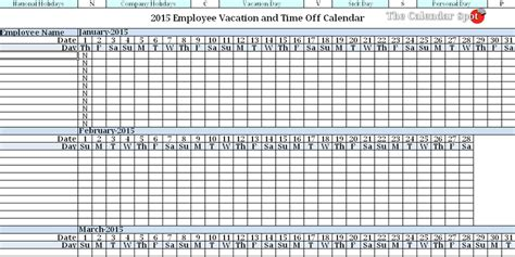 vacation planning calendar template 2015 employee vacation absence tracking calendar