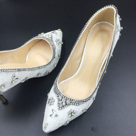 Handmade Bridal Shoes - white ivory lace wedding shoes prom shoes