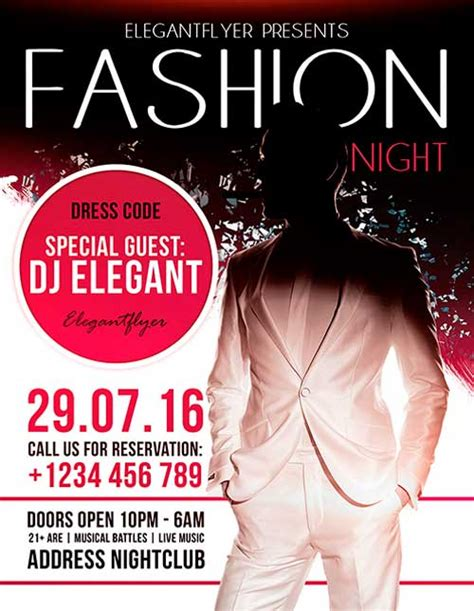 download fashion night free flyer psd template