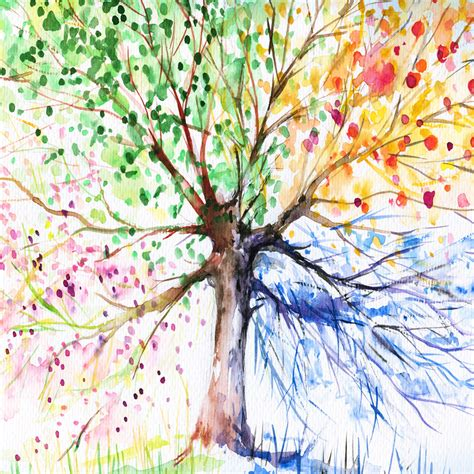 rainbow tree rainbow tree original square canvas print wall
