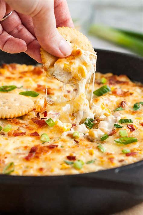 hot corn dip recipe  cream cheese  bacon plated