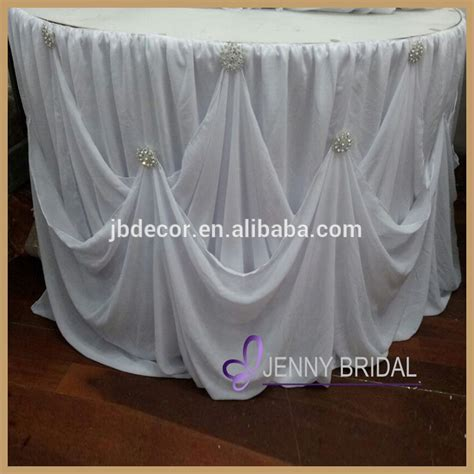 tc106a new table skirting designs white chiffon gathered