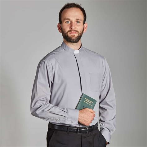 14299 white collar sml clergy shirt 55 cotton l sleeve slip in collar sml lg