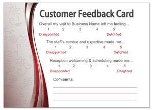 feedback request template cards restaurant survey card template