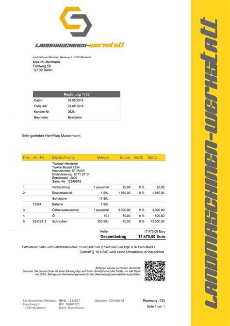 Rechnung Durch Kleinunternehmer Landmaschinen Werkstatt Rechnungsprogramm Faktura Software
