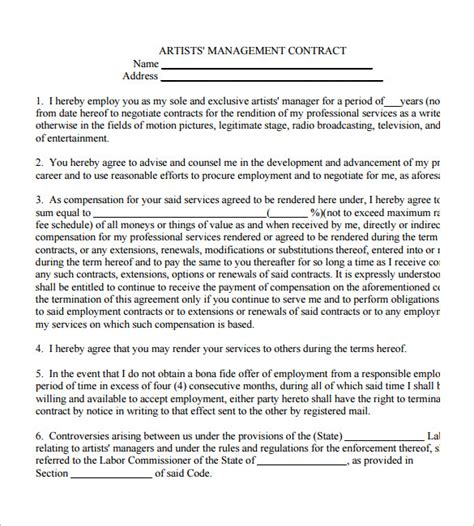 Artist Management Contract Template 5 artist management contract templates free pdf word