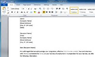 employee s resignation acknowledgment template for word