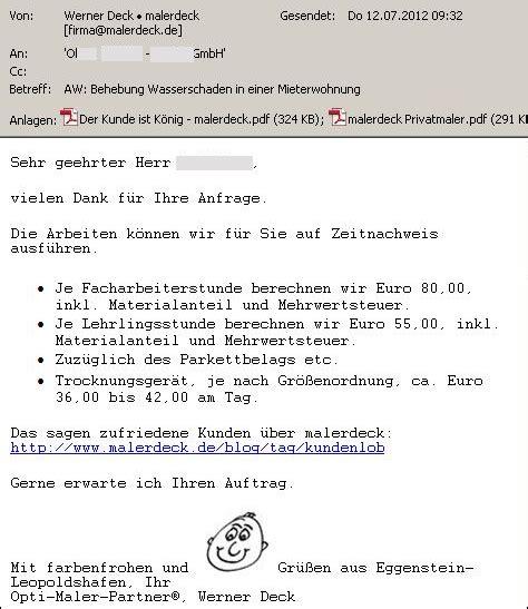 Musterbrief Versicherung Kostenvoranschlag Organisation Und Unternehmensf 252 Hrung Archives Seite 6 12 Malerdeck Ihr Opti Maler